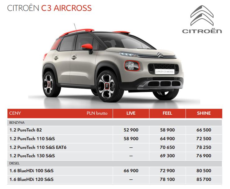 Citroen C3 Aircross Polski Cennik Namasce