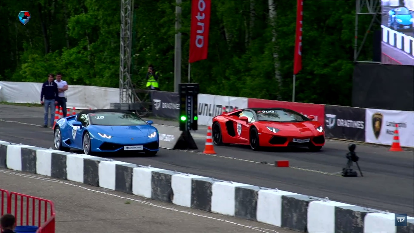 lamborghini aventador vs huracan spyder drag race video. Black Bedroom Furniture Sets. Home Design Ideas