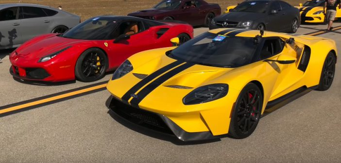 Ford GT vs Ferrari 488 Spider – drag race (Video)