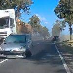 Chwile grozy i właściwa reakcja świadka wypadku - zachował prawidłowy odstęp