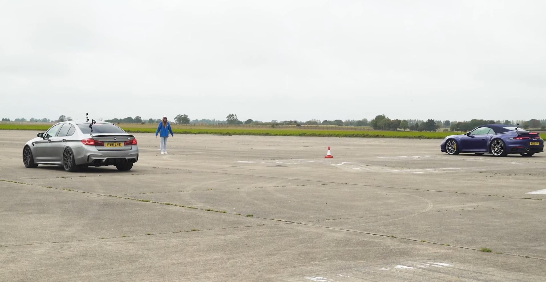 BMW M5 vs Porsche 911 Turbo S - Drag race