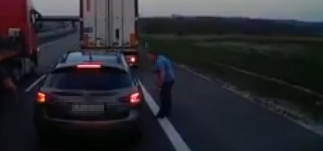 Road rage tir vs osobówka