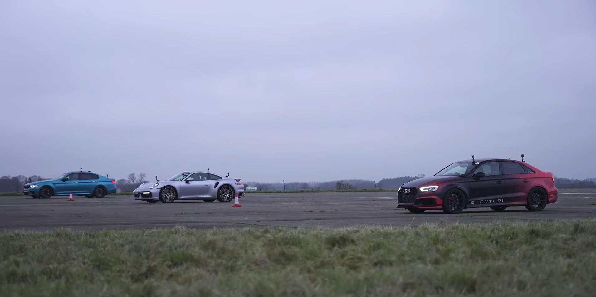 Porsche 911 Turbo S vs BMW M5 1000 HP vs Audi RS3 800 HP