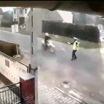 Zderzenie crossowca z policjantem