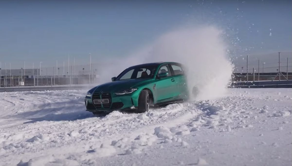 BMW M3 G80 drift on the snow