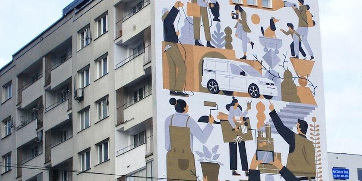 Caddy mural w Warszawie