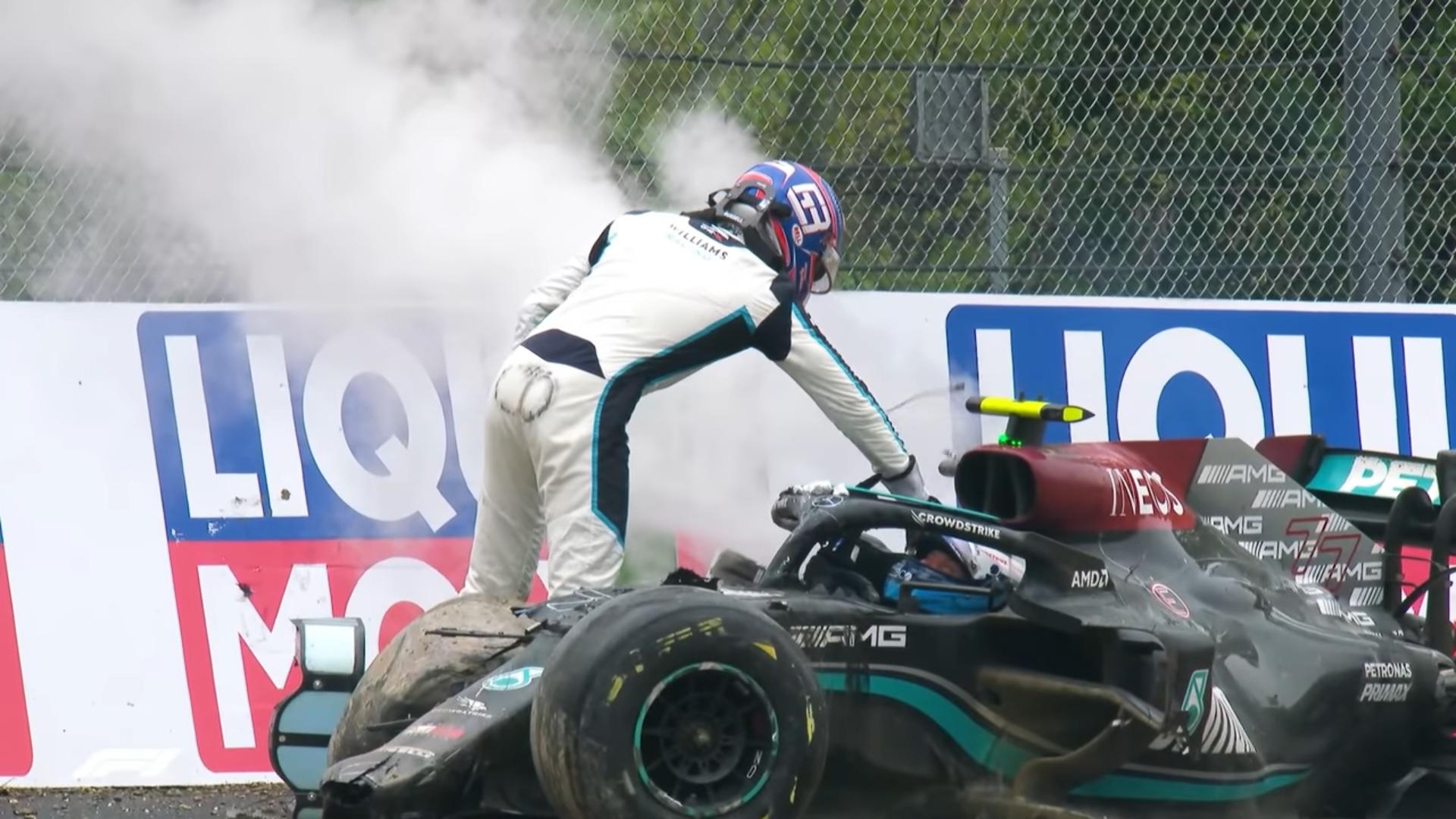 Bottas and Russell crash Imola 2021