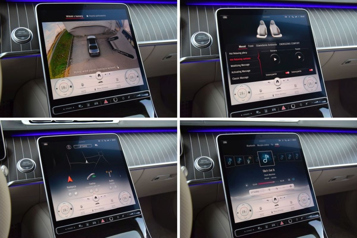 Mercedes Klasy S 2021 ekran multimedialny