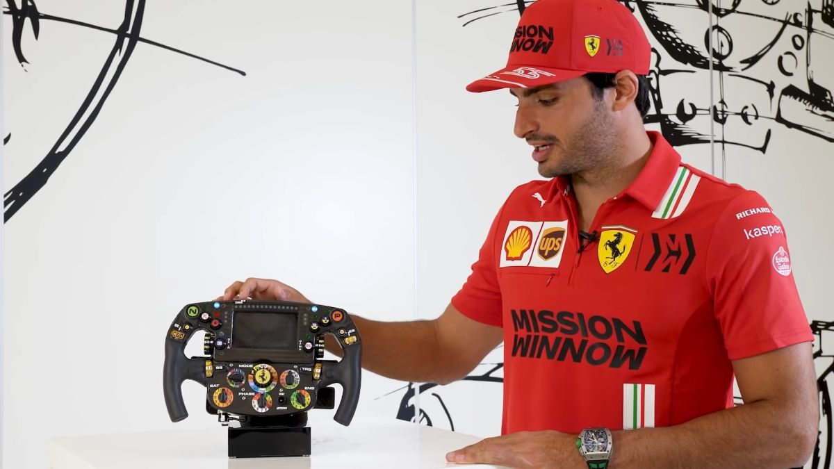 Carlos Sainz steering wheel Ferrari