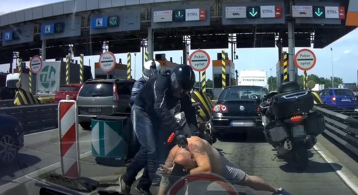 Bójka na autostradzie A4 przed bramkami