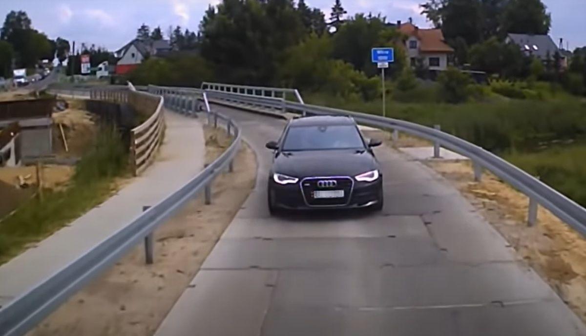 Nieudany manewr cwaniaczka w Audi