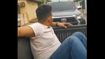 Nieodpowiedzialny kierowca Toyoty Hilux