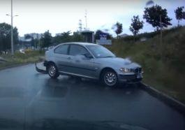 Poślizg kierowcy w BMW