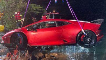 Lamborghini Huracan w jeziorze
